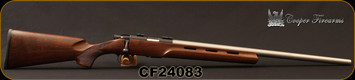 "Cooper - 22LR - M57 LVT -  Bolt Action Rilfe - AA Claro Walnut Vented stock w/hand checkered grip/Stainless, 24"" Heavy Barrel, Pachmayr recoil pad, Warne Bases, S/N CF24083"