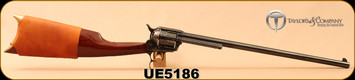 """Used - Taylors & Co - 44-40 - Uberti - Cattleman S/A Revolving Carbine - Walnut/Blued Finish with Case Hardened Frame, 18""""Barrel, Mfg# 429, c/w custom-made Buffalo Hide case, Taylor's & Co. leather stock cover - Only 20 rounds fired"""