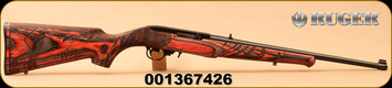 "Ruger - 22LR - 10/22 Wild Hog - Semi-Auto - Engraved Wild Hog stock - Red Laminate/Blued, 18.5""Barrel, Mfg# 31107, S/N 001367426"