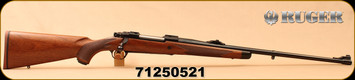 """Ruger - 6.5x55Swedish - M77 Hawkeye African - American Walnut with Ebony Forend Cap/Satin Blued, 24"""", Shallow """"express-style"""" windage-adjustable """"V"""" notch rear sight, large white bead front sight, Mfg#47186 - S/N 71250521"""