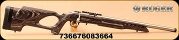 "Ruger - 22LR - American Rimfire Target - Black Laminate Thumbhole Stock/Satin Stainless, 18""Threaded Barrel, Flush-Mounted Rotary Magazine, Extended Magazine Release, Mfg# 08366"