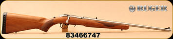 """Ruger - 22LR - American Rimfire Wood Stock - Bolt Action Rifle - Walnut Stock/Satin Stainless Steel, 22""""Barrel, Adjustable Rear Sight, Extended Magazine Release, Mfg# 08359, S/N 83466747"""