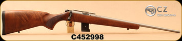 "CZ - 17HMR - 455 Stainless - Turkish Walnut/Stainless, 20.7""hammer forged barrel, 10rd magazine, adjustable trigger, S/N C452998"