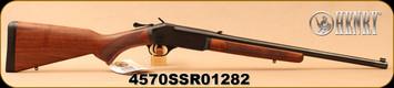 "Henry - 45-70Govt - Single Shot Break Action Rifle - Walnut Stock/Blued Finish, 22""Barrel, Adjustable Rear Sight, Brass Bead Front Sight, Mfg# H015-4570, S/N 4570SSR01282"