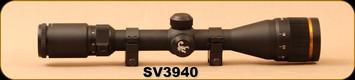 """Consign - Scorpion Venom Riflescope - SV 3-9x40mm AO AE - 1""""Tube, c/w Venom Rings - Marksman Reticle - In Non-Original Box"""