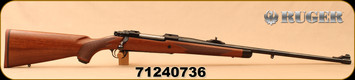 """Consign - Ruger - 6.5x55Swedish - M77 Hawkeye African - American Walnut with Ebony Forend Cap/Satin Blued, 24"""", Shallow """"express-style"""" windage-adjustable """"V"""" notch rear sight, Mfg#47186 - New In Box"""
