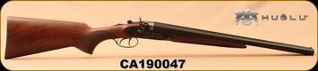 "Huglu - 12Ga/3""/20"" - 201HRZ - Turkish Walnut/Blued barrel/Case Hardened Receiver, Double Trigger, HRZ Hammer, Standard Stock, SKU# 8681715392202, S/N CA190047"