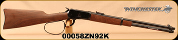 """Winchester - 44RemMag - Model 1892 Large Loop Carbine - Grade I Walnut Straight Grip Stock/Blued, 20""""Barrel, Marble Arms front sight, Mfg# 534190124, S/N 00058ZN92K"""