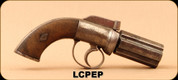 "Consign - Leech of Chelmsford - 32Cal - Six-Barrel Pepperbox - Percussion Cap - two piece checkered wooden grips w/an engraved, diamond shaped screw escutcheon on each grip panel/Blued, 3""Barrel - ANTIQUE"
