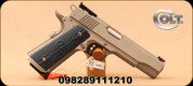 "Colt - 45ACP - Gold Cup Trophy - Single Action Hammer Fired Semi-Auto - G10 Blue and Black Grips w/25 LPI checkering /Brushed Stainless, 5""Barrel, Beveled magazine well, Mfg# 05070XE"