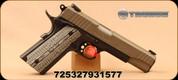 "Taurus - 45ACP - 1911 - Single Action Semi Automatic Pistol - Custom VZ Grip/Tan Cerakote Slide Finish, 5""Barrel, Novak Style Sights, Mfg# 1-191101S-VZ"