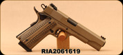 "Used - Rock Island Armory - 10mm - 1911 A1 Rock Ultra - SA Semi-Auto - Brown G10 Grips/Flat Dark Earth Cerakote, 5""Barrel - Unfired in original case"