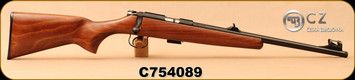 "CZ - 22LR - 455 Scout - American-Style Beechwood Stock/Blued, 16.5""Threaded(1/2x28)Barrel, Hooded Front Sight, Integrated 11mm Dovetail, Mfg# 02135, S/N C754089"