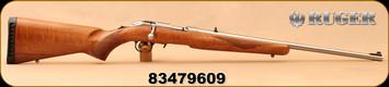 "Ruger - 17HMR - American Rimfire Rifle TALO Edition - Walnut Stock/Satin Stainless, 22""Barrel, detachable, flush-mounted JMX-1, 9-round rotary magazine, 3/8"" rimfire scope base, Mfg# 08365, S/N 83479609"