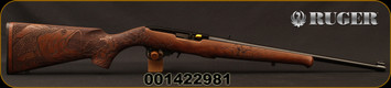 "Ruger - 22LR - 10/22 Bass - Semi-Auto - Walnut Stock w/Engraved Bass/Satin Black, 18.5""Barrel, MFG# 31123, S/N 001422981"