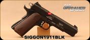 "SIG - 22LR - Model 1911-22 - Wood Grip Panels/Black Finish/Alloy Frame, 5""Barrel, Fixed 3-Dot sights, 2 magazines"
