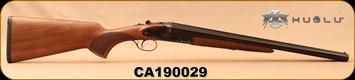 "Huglu - 12Ga/3""/20"" - 200AC - SxS Single Trigger - Turkish Walnut/Case Hardened Receiver w/hand engraving/Blued Barrels, 5pc. Mobile Choke, SKU# 8681715399676, S/N CA190029"