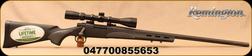 """Remington - 22-250Rem - 700 SPS Varmint - Bolt Action Rifle and Scope Combo - Vented Black Synthetic Stock w/Grey touch panels/Blued, 26"""" Heavy Barrel, 4 Round Capacity, c/w hard scoped rifle case - Mfg# 85565"""