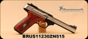 "Used - Browning - 22LR - Buck Mark - Medallion Rosewood - Semi-Auto Pistol - Laminated Rosewood Grips/Blackened stainless steel slab side, 5.5"" Bull barrel, Pro-Target adjustable rear sight, Mfg# 051543490 - In original case"