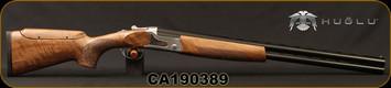 "Huglu - 12Ga/3""/26 - S12E - Ladies/Youth O/U - Turkish Walnut Monte Carlo Stock w/Adjustable Comb/Silver Receiver/Chrome-lined barrels, M Choke, SKU# 8681715390833, S/N CA190389"