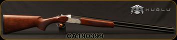 "Huglu - 28Ga/2.75""/28"" - 103C - O/U, Turkish Walnut/Silver Reciever w/gold inlay birds/Blued Barrel, single trigger, 5pc. Mobile Choke, SKU# 8682109402385, S/N CA190399"
