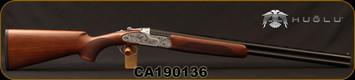 """Huglu - 20Ga/3""""/26"""" - 103FE - O/U - Ejectors - Turkish Walnut/Silver Receiver w/ Gr5 Hand engraving/Blued, SKU# 8682109400145, S/N CA190136"""
