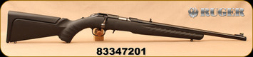 "Used - Ruger - 17HMR - American Rimfire Compact - Bolt Action Rifle - Black Composite Stock/Blued,18""Threaded Barrel, Mfg# 08314 - Only 40 rounds fired - In original box"