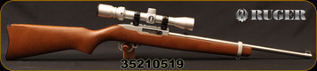 "Consign - Ruger - 22LR - 10/22 Stainless - Semi-Auto Rifle - Hardwood Stock/Stainless, 18.5""Barrel, Detachable 10-round rotary magazine - only 250 rounds fired - c/w Bushnell 3-9x32, Duplex Reticle"