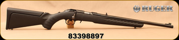 "Used - Ruger - 17HMR - American Rimfire Compact - Bolt Action Rifle - Black Composite Stock/Blued,18""Threaded Barrel, Mfg# 08314 - Only 40 rounds fired - In non-original box"