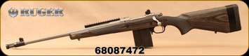 """Used - Ruger - 308Win - M77 - Gunsite Scout - LH - Grey Laminate/Stainless, 18"""", flash hider, Mfg# 06821 - In original box - Only 40 rounds fired"""