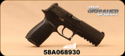 "Used - Sig Sauer - 9mm - Model P320 Full Sized - Striker-Fired Semi-Auto Pistol - Double Action - Black Polymer Frame/4.7""Barrel, (2) 10 round magazines, Barrel Badger, Sig Holster, in original box, S/N 58A068930"
