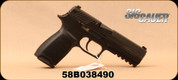 "Used - Sig Sauer - 9mm - Model P320 Full Sized -Striker-Fired Semi-Auto Pistol - Double Action - Black Polymer Frame/4.7""Barrel, (2) 10 round magazines, Barrel Badger, Sig Holster, in original box, S/N 58B038490"