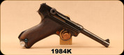 "Used - Luger - 9mm - DMW Double-Date (1915/1920)Luger - Wooden Grips/Blued, 4.25""Barrel, Std. WWI markings, Aluminum WW2 Mag (S/N 1684) - Restored & refinished in 2016 by Bits of Pieces, restricted barrel installed and gun reclassified with RCMP"