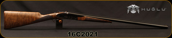 "Huglu - 12Ga/3""/28"" - 201A - SxS - Grade 3 Turkish Walnut English Straight Grip Stock/Engraved Case Hardened Receiver/Blued barrels, Double Trigger, 5pc. Mobile Choke System, Wooden Butt Plate, SKU# 8681715392011, S/N 16C2021"