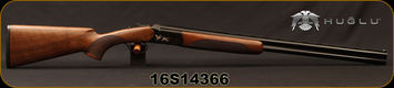 "Huglu - 20Ga/3""/28"" - 103C - O/U Single Trigger - Extractors - Turkish Walnut/Black Receiver w/Gold Inlay Birds/Chrome-Lined Barrels, 5pc. Mobile Choke, Sku: 8681715390277, S/N 16S14366"