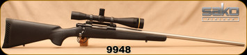"""Consign - Sako - 7mm-08 - L579 Custom - Bolt Action Rifle - Black Textured Bell & Carlson Stock/Sako L579 Action/Stainless, 26""""Ted Gaillard Barrel, Custom Mount, Leupold FX-3, 12x40mm, Duplex Reticle - Less than 150 rounds fired - In black hard case"""