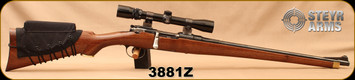 "Consign - Steyr Mannlicher - Bolt Action Rifle - Walnut Stock w/ Neoprene Comb-Raising kit/Blued,  21""Barrel, Bushnell Sportview 3-9x32, Duplex"