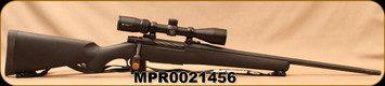 """Used - Mossberg - 300WM - Patriot Vortex Scoped Combo - Bolt Action Rifle - Black Synthetic Stock/Matte Blued, 22""""Barrel, 4 Rounds, Vortex Crossfire II 3-9x40 Scope With BDC Reticle - Very low rounds - In original box"""