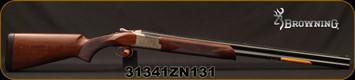 "Browning - 20Ga/3""/28"" - Citori 725 Field - O/U - Grade II Checkered Black Walnut Stock/Engraved Silver Nitride Reciever/Blued Barrels, Invector-DS chokes, Mfg# 0135306004, S/N 31341ZN131"