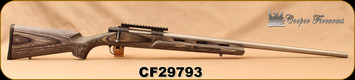"""Consign - Cooper - 6.5x47Lapua - Model 22 Varminter - Single Shot Rifle - Grey Laminate Stock w/Vented Forend/Stainless, 26""""straight taper, premium match barrel - 447 rounds fired"""