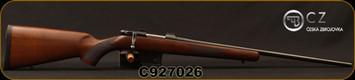 "CZ - 7.62x39 - 527 American - Bolt Action Rifle - American Style Turkish Walnut Stock/Blued, 21.875"" Barrel, 5 Round Detachable Magazine, Integrated 16mm Scope Base, Mfg# 03087, S/N C927026"