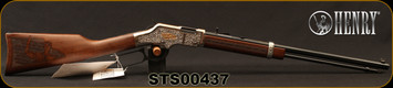 """Henry - 22S/L/LR - Golden Boy - Salute to Scouting Edition - Lever Action - Straight-Grip Engraved Walnut Stock/Engraved Nickel Receiver /Blued, 20"""" Octagonal Barrel, 16 Round Tubular Magazine, Mfg# H004STS, S/N STS00437"""