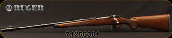 """Ruger - 375Ruger - M77 Hawkeye African - LH - Bolt Action Rifle - American Walnut Stock/Satin Blue, 23""""Barrel, w/Muzzel Brake 23"""" Barrel, Mfg# 47121, S/N 71256381"""