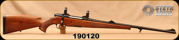 """Used - Steyr Mannlicher - 270Win - Luxus - European Walnut w/Bavarian Cheek Piece/Blued, 23""""Barrel, Single Set trigger, Buehler mounts & 1""""rings, c/w extra magazine - Only 17 rounds fired -Stock Has Crack on Right Side Grip 4"""" Long Horizontal."""