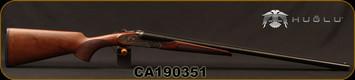 "Huglu - 12Ga/3""/28"" - 200ACE - SxS Single Trigger - Ejectors, Select Turkish Walnut/Case Hardened Receiver w/Gr5 Hand Engraving/Chrome-Lined Barrels, 5pc. Mobile Choke, SKU# 8682109402460, S/N CA190351"