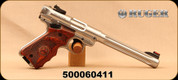 """Used - Ruger - 22LR - Mark IV Hunter - Target Laminate Grips/Stainless, 6.9""""Fluted Bull Barrel, c/w 2 Mags, Mfg# 40160 - In original box"""