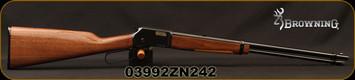"Browning -  22S/L/LR - BL-22 Grade I - Lever Action Rimfire Rifle - Gloss Finish Walnut Stock/Blued Finish, 20"" Barrel, 15 Round Capacity, Mfg# 024100103, S/N 03992ZN242"