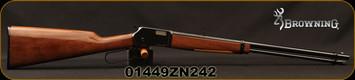 "Browning -  22S/L/LR - BL-22 Grade I - Lever Action Rimfire Rifle - Gloss Finish Walnut Stock/Blued Finish, 20"" Barrel, 15 Round Capacity, Mfg# 024100103, S/N 01449ZN242"