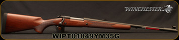 "Winchester - 375H&H - Model 70 Safari Express - Grade I Walnut w/Deluxe Cheekpiece/Matte Blued, 24""Barrel, Fully Adjustable rear sight, hooded front sight, Mfg# 535204161, S/N WIPT01049YM35G"