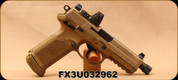 """Used - FN - 45ACP - FNX-45 Tactical - Semi Auto - Flat Dark Earth Finish, 5.3""""Threaded Barrel,  MIL-STD-1913 Accessory Rail, Fixed 3 Dot Night Sights w/Trijicon RM07 reflex sight, (3)FDE mags, (3)black mags - only 20rds fired - in  FDE Range bag"""